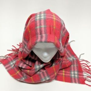 Burberry Cashmere Pink Plaid Fringed Scarf